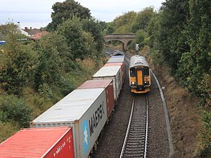 Derby Road railway station - An Ipswich to Felixstowe passenger train passes a container train from Felixstowe at Derby Road