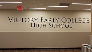 Victory Early College High School - Design mounted on wall within school hall