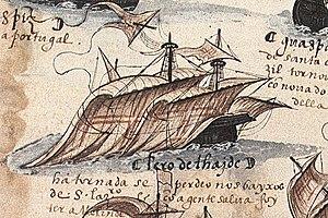 Pêro de Ataíde - Ship of Pêro de Ataíde, detail from the Memória das Armadas