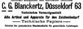 Deutscher Geometerverein, Deutscher Verein für Vermessungswesen,(Hrsg.)-Zeitschrift für Vermessungswesen, Band 40, K. Wittwer, 1911, Seite 993, C.G. Blanckertz, Düsseldorf Inhaber der preussischen Staatsmedaille für gewerbliche Leistungen.PNG