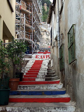 Streets in Gibraltar - The Devils Gap Road, the steps have been painted with the Union Flag ever since the referendum.