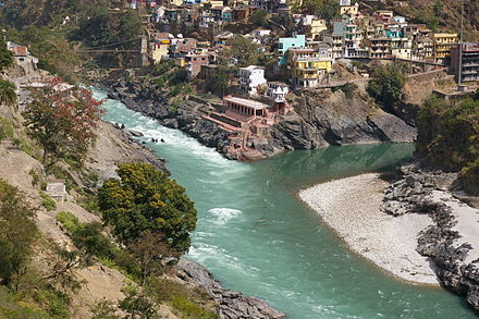 Confluence of the Bhagirathi and Alaknanda Rivers to produce the Ganges at Devprayag, India Devprayag - Confluence of Bhagirathi and Alaknanda.JPG