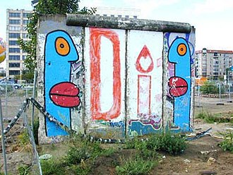 Thierry Noir - A memorial to Diana, Princess of Wales, painted on a remaining piece of the Berlin Wall (1998)