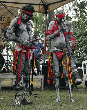 Didgeridoo - Didgeridoo and clapstick players performing at Nightcliff, Northern Territory