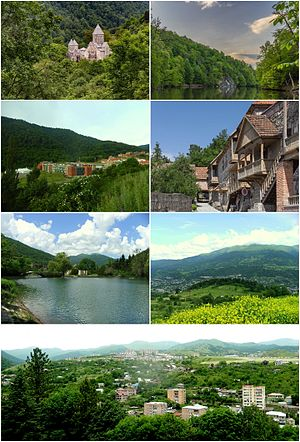 From top left: Haghartsin Monastery • Lake ParzUWC Dilijan • Sharambeyan street of old DilijanDowntown Dilijan • Dilijan skylinePanoramic view of Dilijan