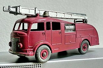 Die-cast toy - Typical early Dinky diecast toy, with multiple parts and rubber tyres, but early models had no glazed windows.