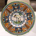Dish with scene of putto committing suicide, Italy, probably Siena, c. 1510-1525, maiolica - Wadsworth Atheneum - Hartford, CT - DSC05056.jpg