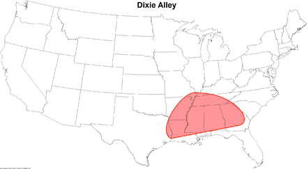 The Dixie Alley region indicated by red shaded area. DixieAlleymap.png