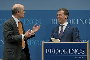 Strobe Talbott - Talbott with Russian President Dmitry Medvedev whilst the latter was on a visit to the United States in April 2010.
