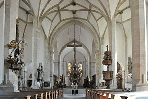 Merseburg Cathedral - View of the interior along the nave towards the high altar