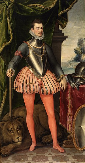 Cockade - John of Austria wearing as a brassard the red cockade of the Spanish armies.