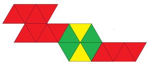 Edge-contracted icosahedron - Image: Double diminished icosahedron net
