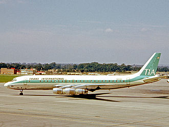 Douglas DC-8 - The first DC-8 N8008D which first flew on 30 May 1958 as a Series 10 aircraft. Converted to Series 51 and operated by Trans International Airlines at London Gatwick Airport in 1966