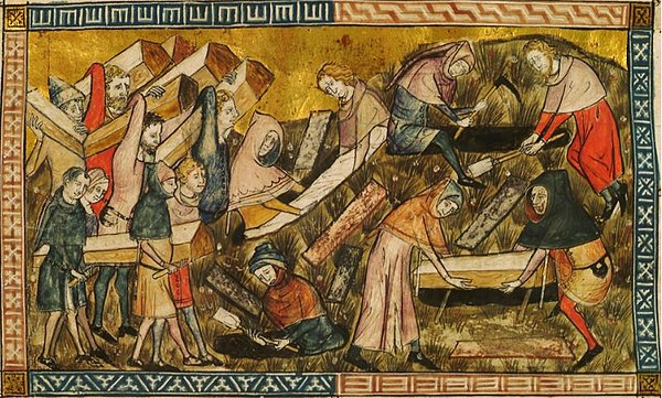"The primitive nature of medieval medicine rendered Europe helpless to the onslaught of the Black Death in the 14th century. Miniature from ""The Chronicles of Gilles Li Muisis"" (1272-1352). Bibliotheque royale de Belgique, MS 13076-77, f. 24v. Doutielt3.jpg"