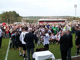 Dover Athletic F.C. - Dover receive the Isthmian League championship trophy in 2009