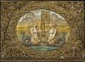 Drottning Kristinas kröningshimmel, sjöjungfruer hållande riksnyckeln - Livrustkammaren - 13887.tif