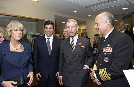 The Prince of Wales and the Duchess of Cornwall with NIH Director Elias Zerhouni and Surgeon-General Richard Carmona, November 2005 Duchess of Cornwall, Prince of Wales - NIH.jpg