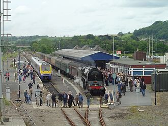 Carmarthen railway station - 71000 Duke of Gloucester at Carmarthen station, 26 May 2007