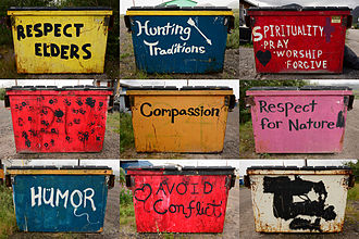 Anaktuvuk Pass, Alaska - Dumpsters in Anaktuvuk Pass, painted with slogans that promote community values.