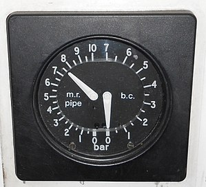 Railway air brake - Duplex brake gauge on a UK Electric multiple unit. Left needle shows air supplied by the main reservoir pipe, right needle shows brake cylinder pressure