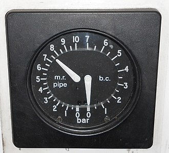 Railway air brake - Duplex brake gauge on a British electric multiple unit. Left needle shows air supplied by the main reservoir pipe, right needle shows brake cylinder pressure