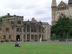 Palace Green - Pemberton Building, Abbey House (Theology Department) and Cathedral, all facing onto Palace Green