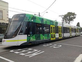 Timeline of trams in Melbourne - An E Class tram in North Balwyn