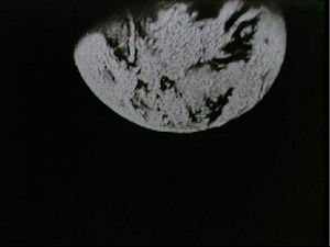 Apollo TV camera - Earth seen during the Apollo 8 live TV transmission on 23 December 1968  using the 100 mm telephoto lens on the RCA Command Module TV Camera.