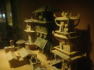 Chinese architecture - Models of watchtowers and other buildings made during the Eastern Han Dynasty (AD 25–220); while these models were made of ceramics, the real versions were made of easily perishable wood and have not survived.