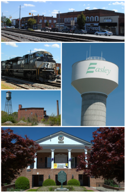 Top, left to right: Downtown Easley, Norfolk Southern Railway, Easley Mill, Easley water tower, Easley City Hall