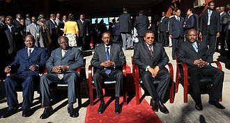 Mwai Kibaki - President Mwai Kibaki with, from left to right, Presidents Yoweri Museveni of Uganda, Paul Kagame of Rwanda, Jakaya Kikwete of Tanzania, and Pierre Nkurunziza of Burundi at an East African Community Head of States Meeting