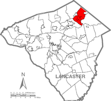 Map of Lancaster County, Pennsylvania highlighting East Cocalico Township