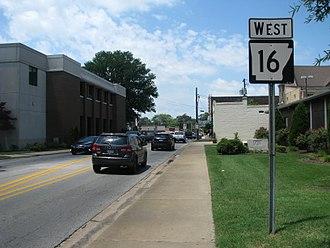 Arkansas Highway 16 - East End of Highway 16 in Searcy, Arkansas.