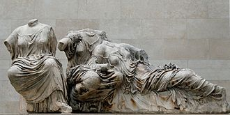 Dione (Titaness) - Three goddesses from the Parthenon east pediment, possibly Hestia, Dione, and Aphrodite, c. 435 BC (British Museum)