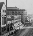 East side of Broadway looking south past 3rd St, c.1903-4. From left to right 1888 City Hall, Rindge Block at NE corner of 3rd, Bradbury Building.png