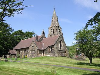 The Church of the Holy and Undivided Trinity, Edale - Image: Edale Village 6388