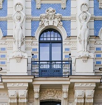 Edificio modernista en Strelnieku Iela 4a, Riga, Letonia, 2012-08-07, DD 01.JPG