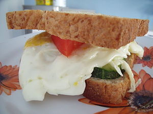 Sandwich - Sandwich with fried egg, tomato and cucumber