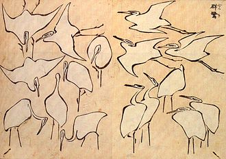 Hokusai - Egrets from Quick Lessons in Simplified Drawing