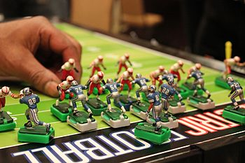 In Electric Football your fantasy games can be played. The Detroit Lions offense works deep from their end zone against the Nebraska Cornhuskers at the Electric Football World Championships.