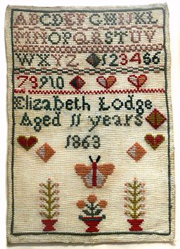 Embroidery sampler 1863 Womens Museum