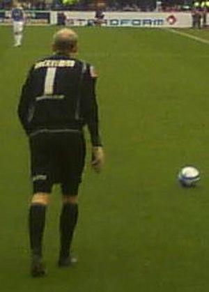 Peter Enckelman - Enckelman taking a free-kick during a league match