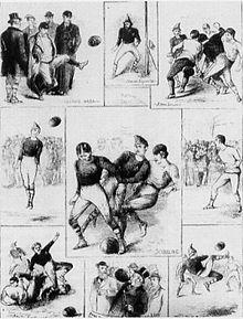 Composition de 9 croquis crayonnés présentant différentes actions d'un match de football.