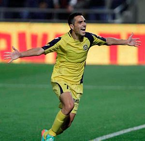 Eran Zahavi - Zahavi celebrating after scoring against Hapoel Tel Aviv in the Tel Aviv derby in March 2014