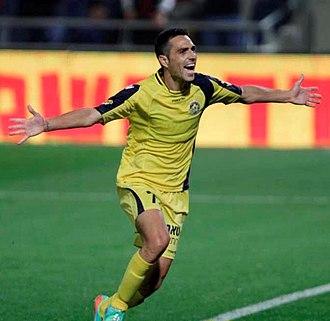 Eran Zahavi - Zahavi celebrating after scoring against Hapoel Tel Aviv in the Tel Aviv derby in March 2014