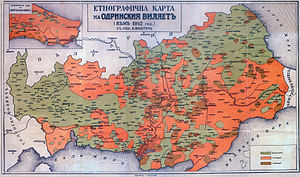 Bulgarians in Turkey - Image: Ethnographic map Thrace 1912