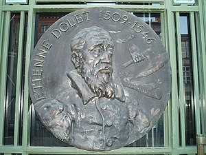 Étienne Dolet - Medallion with portrait of Étienne Dolet
