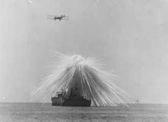 White phosphorus munitions - Air burst of a white phosphorus bomb over the USS ''Alabama'' during a test exercise conducted by General Billy Mitchell, September 1921