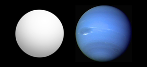 Kepler-11d - Size comparison of Kepler-11 d (gray) with Neptune.