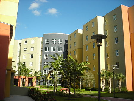 Lakeview Hall North and South residence halls. 6% of FIU students live on-campus. FIU Lakeview.JPG